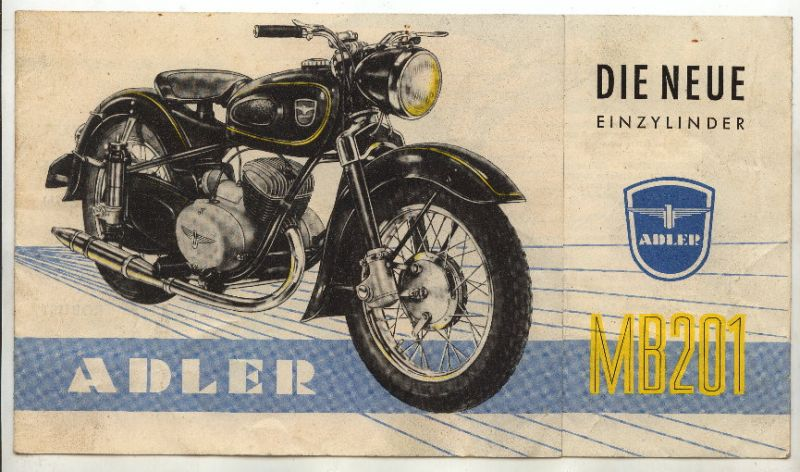 Katalog: Adler MB201, Der neue Einzylinder