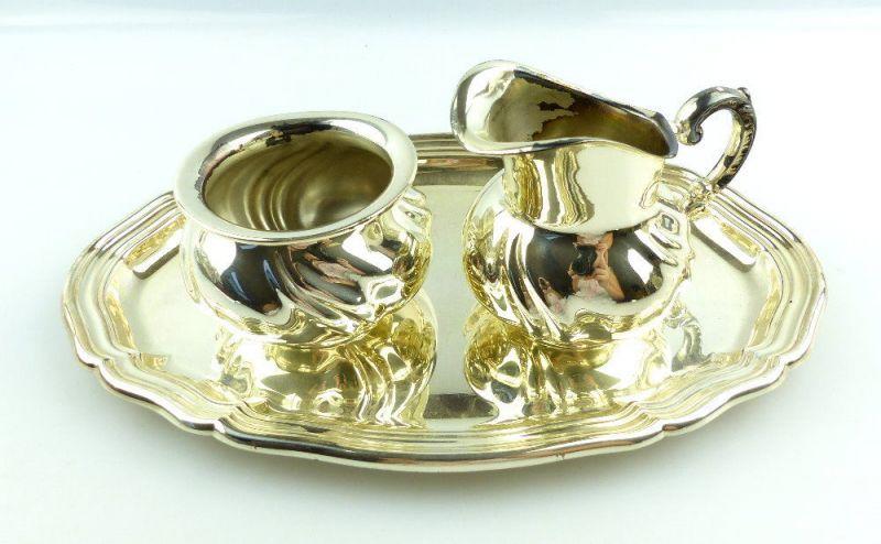 #e3527 Tablett mit Sahnekännchen und Zuckerdose aus 925er Silber Meistersilber
