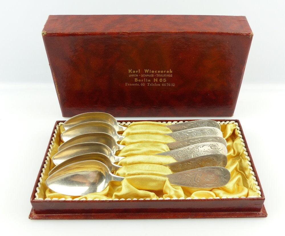 #e3526 6 alte Gründerzeit Kaffeelöffel aus 800er Silber Halbmond & Krone