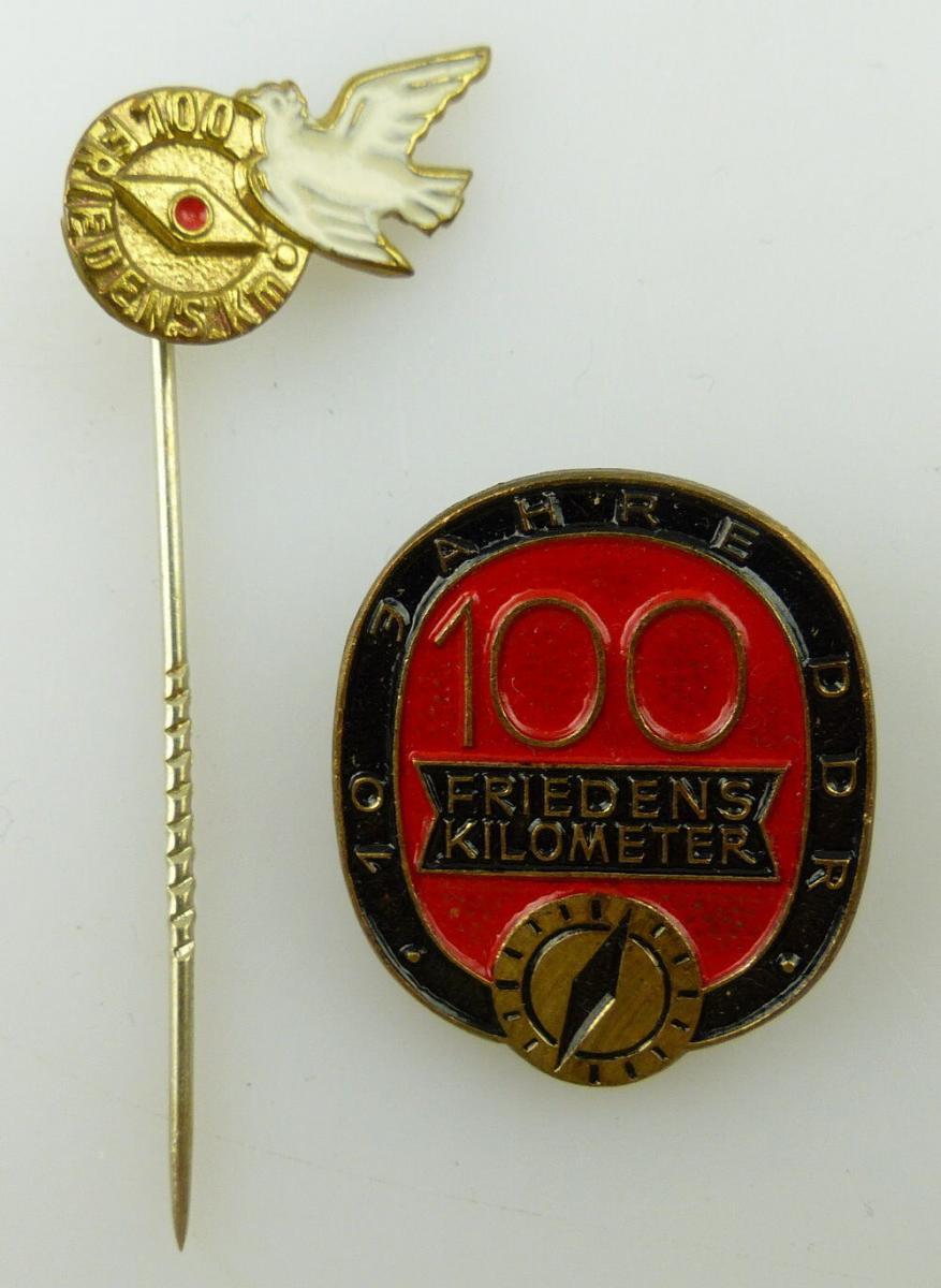 2 Abzeichen: 100 Friedens Kilometer km 10 Jahre DDR, Nr. 970a, 970f, Orden3147
