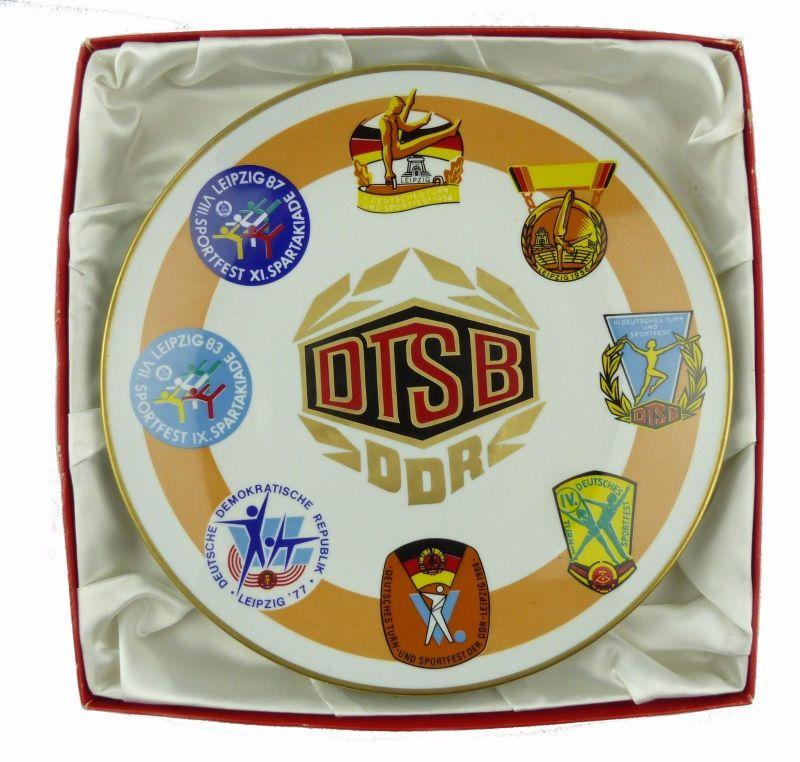 #e5772 DDR Ilmenau Henneberg Porzellan Andenkenteller DTSB Sportfest Leipzig