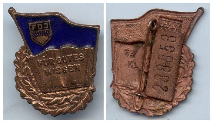DDR FDJ Abzeichen für gutes Wissen Bronze Nr. 238853