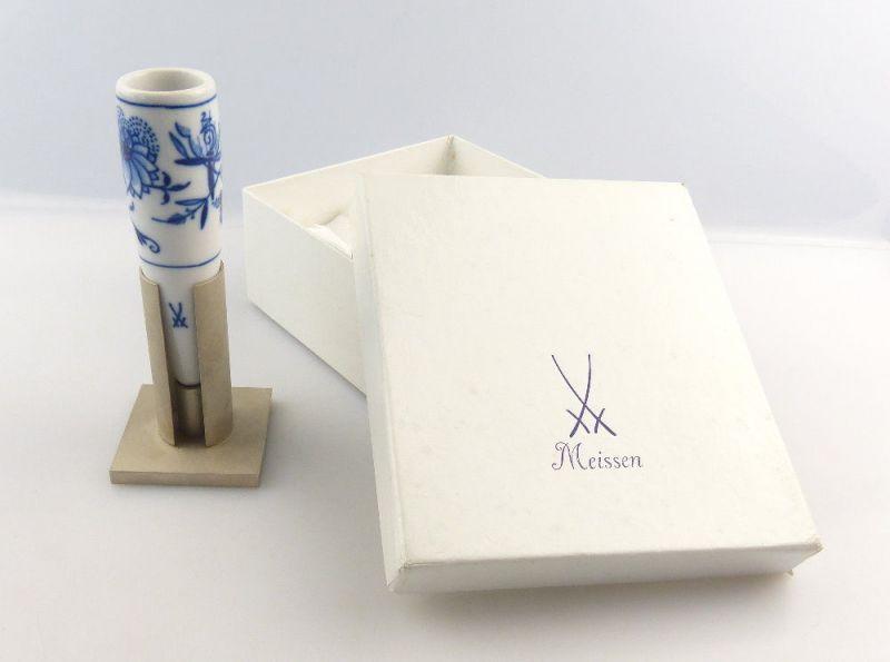 #e3932 Tolle Meissen Zwiebelmuster Vase 1. Wahl mit Metallständer in Geschenkbox