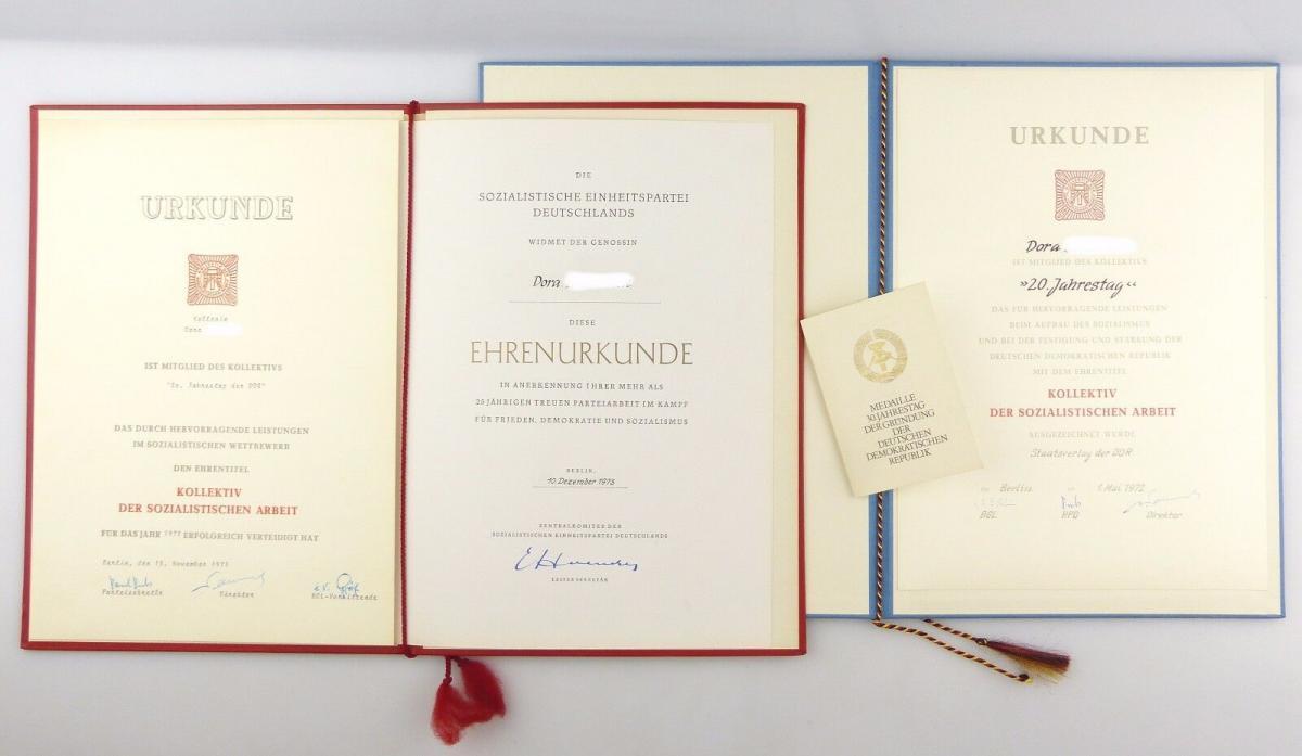 #e5333 Nachlass: 3 Urkunden Kollektiv der sozialistischen Arbeit 1972 1973 1979