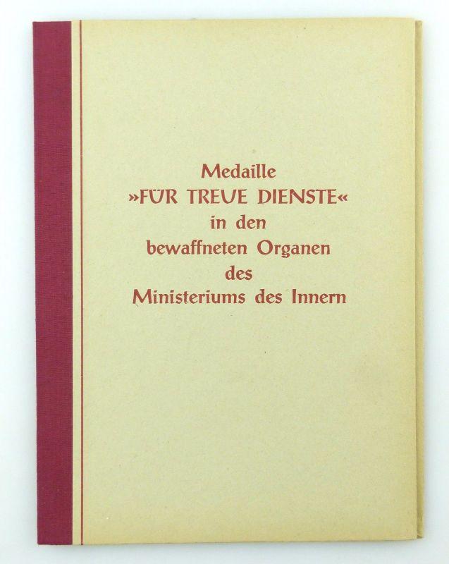 #e6776 DDR Ehrenurkunde 10 Jahre treue Dienste Medaille in Silber 1961 MdI 1