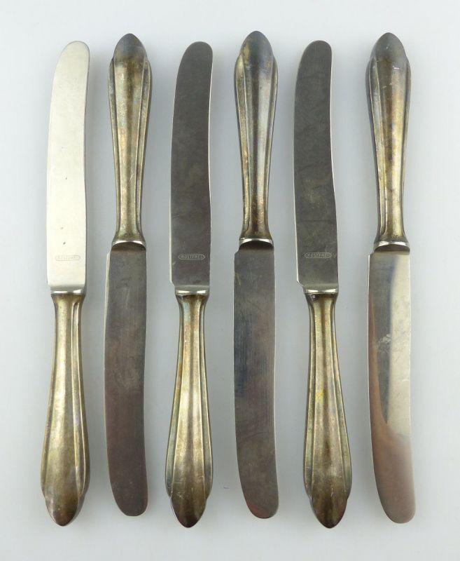 #e3122 6 alte Messer /Dessertmesser mit Griffen in 90er Silberauflage