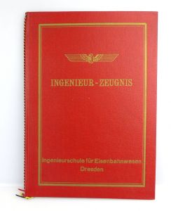 #e2738 Ingenieur- Zeugnis- Mappe der Ingenieurschule für Eisenbahnwesen Dresden