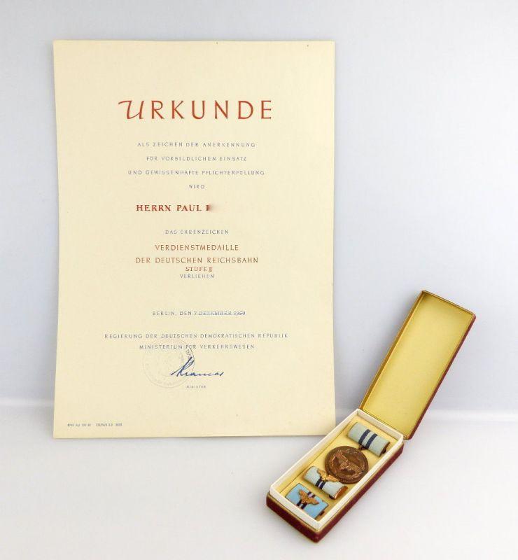 #e2731 Verdienstmedaille der Deutschen Reichsbahn Stufe II mit Urkunde von 1960