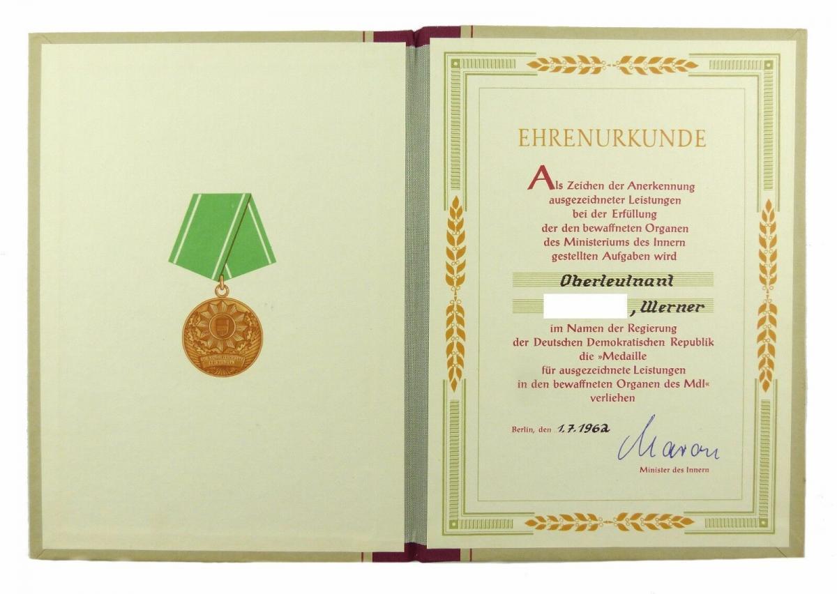 #e6766 DDR Ehrenurkunde Medaille für ausgezeichnete Leistungen MdI 1962