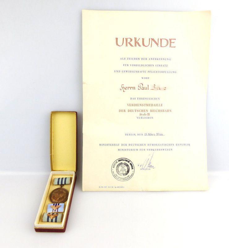#e2730 Verdienstmedaille der Deutschen Reichsbahn Stufe III mit Urkunde von 1966