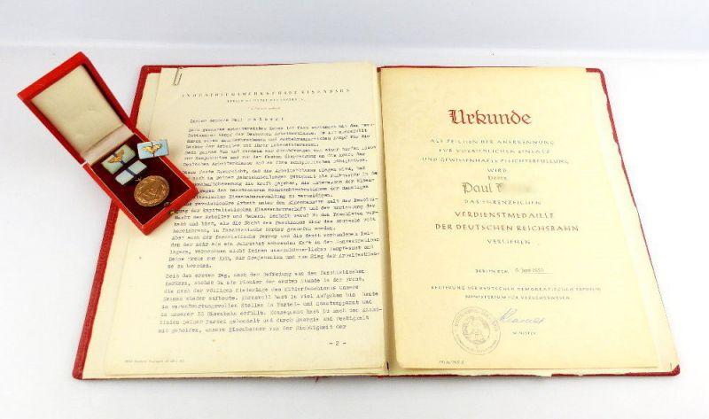 #e2727 Original alte Verdienstmedaille der Deutschen Reichsbahn mit Urkunde 1957