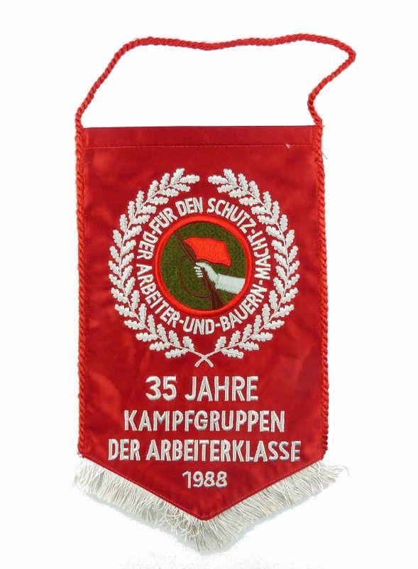 #e7157 DDR Wimpel 35 Jahre Kampfgruppen der Arbeiterklasse 1988 1 Seite getickt