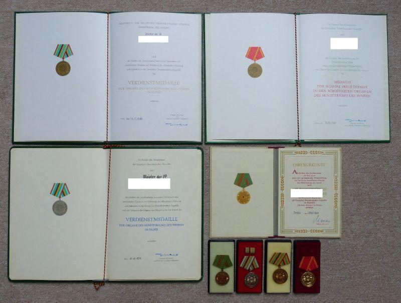 Nachlass: 4 Medaillen + Urkunden, Verdienstmedaille der Organe des MdI Orden1162