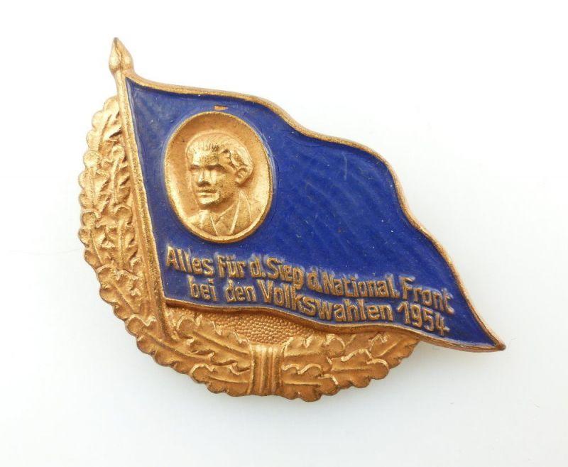 #e4821 DDR Abzeichen Nationale Front, Volkswahlen 1954, bronzefarben