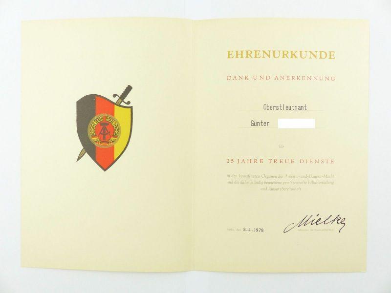 #e6758 Ehrenurkunde: 25 Jahre treue Dienste in den bewaffneten Organen 1978 MfS