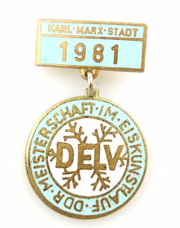 #e5714 Anstecknadel DDR Abzeichen 1981 Meisterschaften im Eiskunstlauf DELV