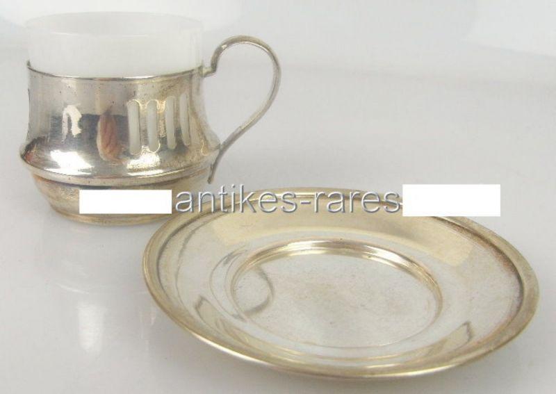 Alte Teetasse mit Untersetzer in 800 (Ag) Silber, Krakau, Polen norb343