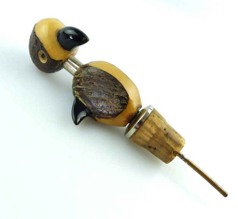 #e3076 Lustiges Tier 50er Jahre Flaschenkorken Vogel, Papagei aus Holz