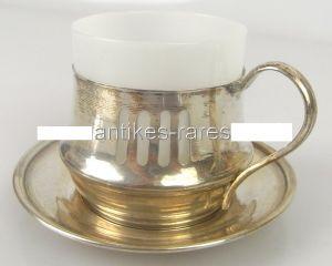Alte Teetasse mit Untersetzer in 800 Ag Silber Krakau Polen