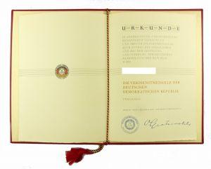 #e6746 Urkunde für Verdienstmedaille der Deutschen Demokratischen Republik 1959
