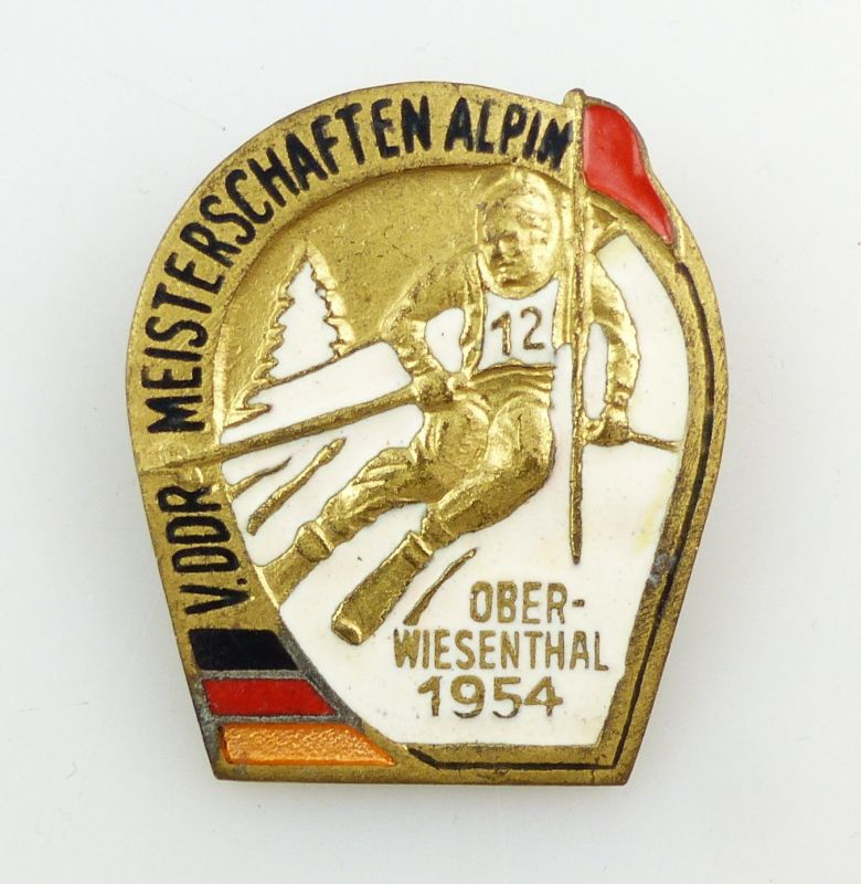 #e5703 Anstecknadel DDR Abzeichen V. Meisterschaften Alpin Oberwiesenthal 1954