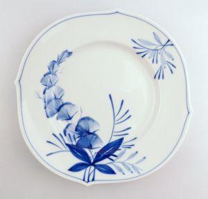 #e4339 Meissen Porzellan Teller / Essteller Wellenspiel Pur Kobaltblau 1. Wahl
