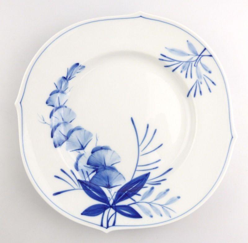 #e4338 Meissen Porzellan Teller / Essteller Wellenspiel Pur Kobaltblau 1. Wahl