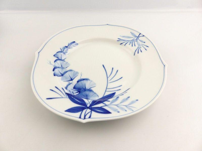 #e4338 Meissen Porzellan Teller / Essteller Wellenspiel Pur Kobaltblau 1. Wahl 1