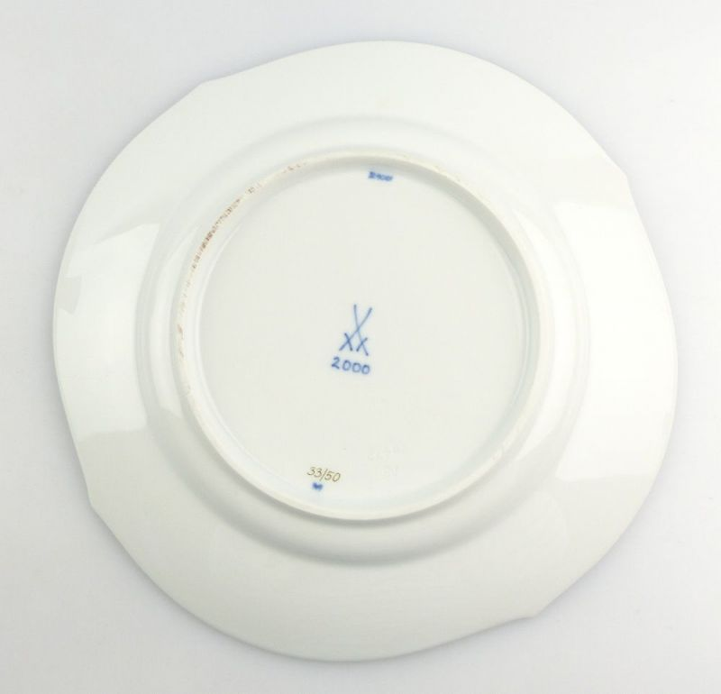 #e4338 Meissen Porzellan Teller / Essteller Wellenspiel Pur Kobaltblau 1. Wahl 2