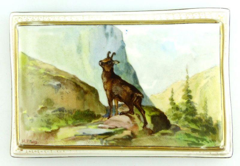 Porzellan Briefbeschwerer: Biedermeier - gemalt und signiert von H. Fieth e1531