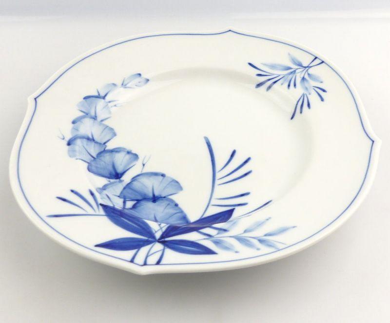 #e4337 Meissen Porzellan Teller / Essteller Wellenspiel Pur Kobaltblau 1. Wahl 1