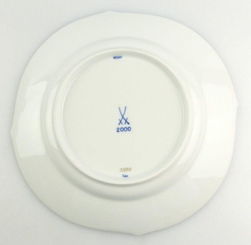 #e4337 Meissen Porzellan Teller / Essteller Wellenspiel Pur Kobaltblau 1. Wahl 2