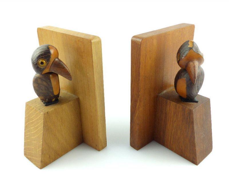 #e3071 Lustige Tiere 50er Jahre Buchstützen aus Holz mit Vögeln