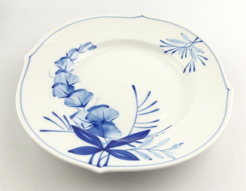 #e4336 Meissen Porzellan Teller / Essteller Wellenspiel Pur Kobaltblau 1. Wahl 1