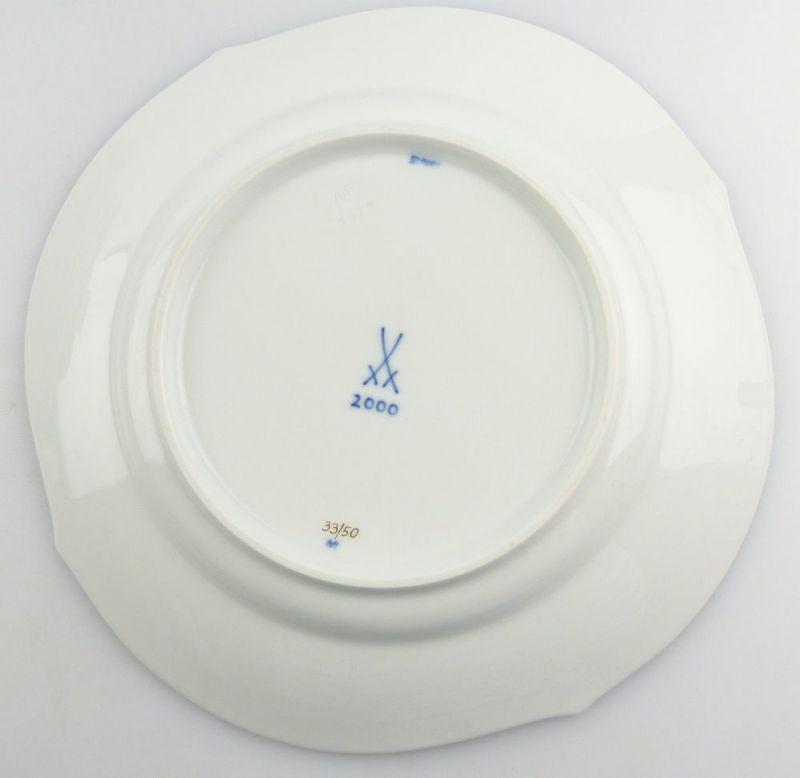 #e4336 Meissen Porzellan Teller / Essteller Wellenspiel Pur Kobaltblau 1. Wahl 2