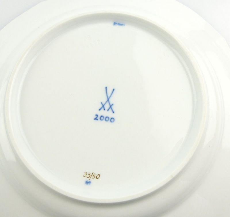 #e4336 Meissen Porzellan Teller / Essteller Wellenspiel Pur Kobaltblau 1. Wahl 3