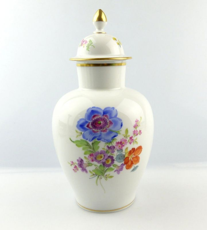 #e4328 Meissen Porzellan Vase mit Deckel 2. Wahl mit bunten Blumen & Goldrand