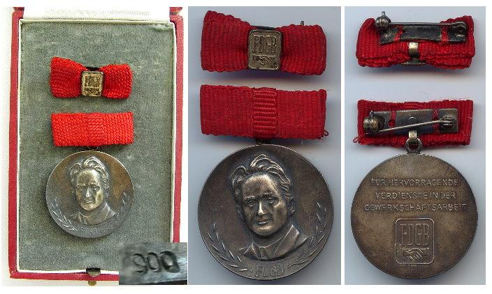 FDGB Fritz Heckert Medaille in Silber 900 gestempelt 4a
