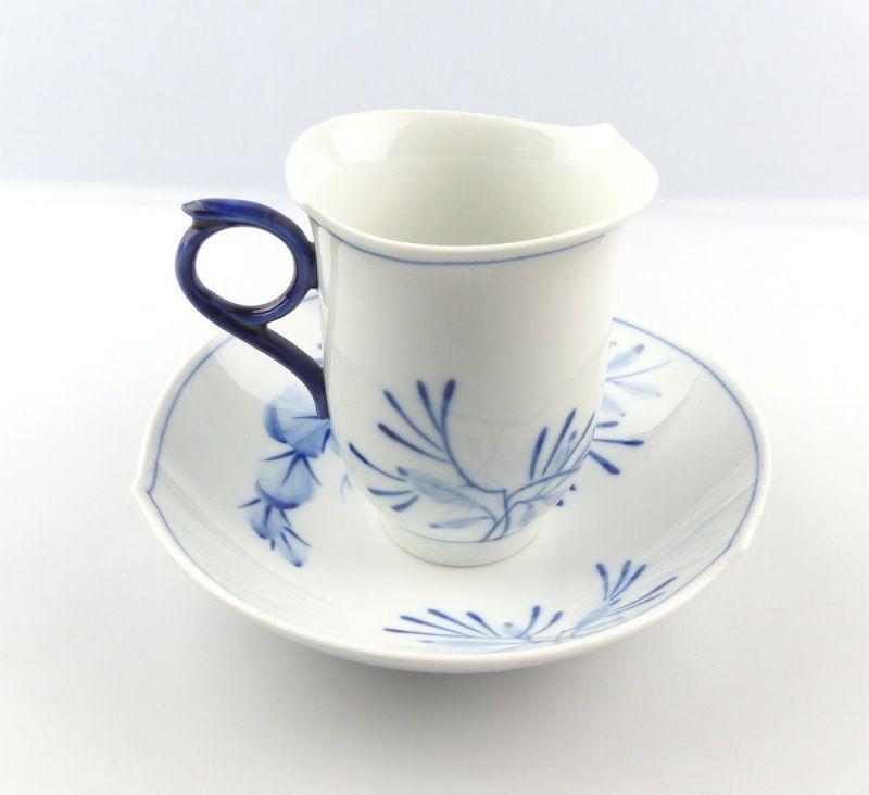 #e4325 Meissen Porzellan Tasse mit Untertasse Robinie kobaltblau, 1. Wahl 1