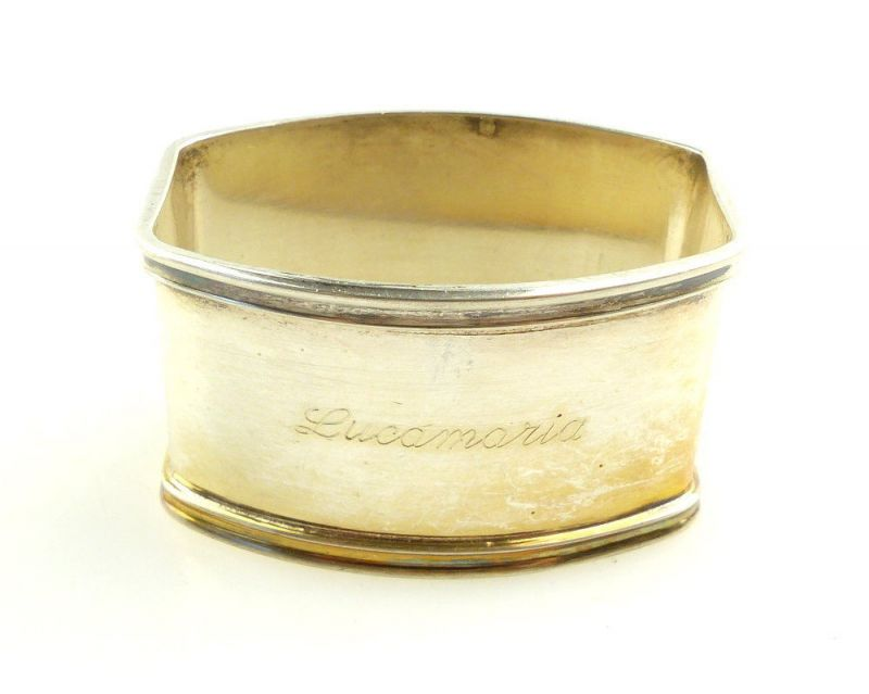 #e3834 Alter Serviettenring aus 800er Silber mit Gravur Lucamaria PD