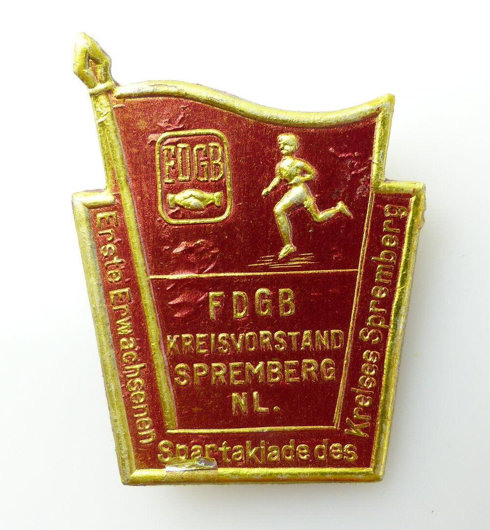 #e2323 Altes seltenes Abzeichen aus Pappe FDGB Kreisvorstand Spremberg NL.
