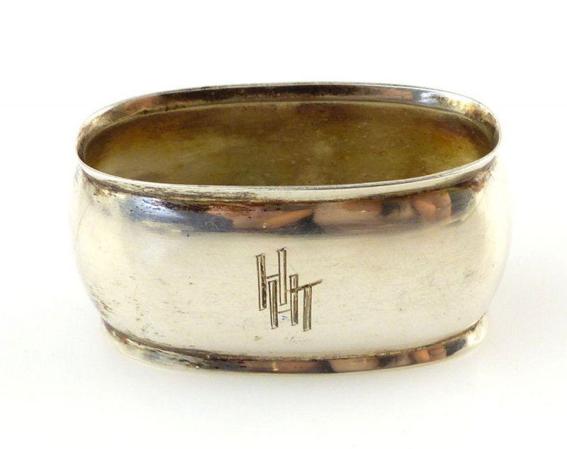 #e3833 Alter Wilkens Serviettenring aus 800er Silber mit Gravur HHT, H & K