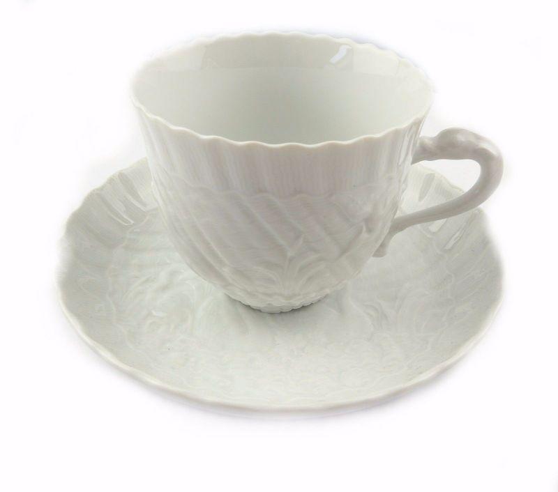#e7108 Meissen 1. Wahl Porzellan Kaffeepott & Untertasse Schwanenservice weiß