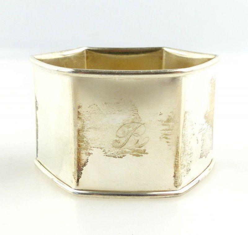 #e3821 Alter Serviettenring aus 925er Silber mit Gravur R Punze Stern