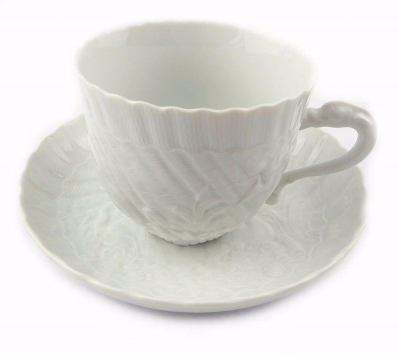 #e7107 Meissen 1. Wahl Porzellan Kaffeepott & Untertasse Schwanenservice weiß