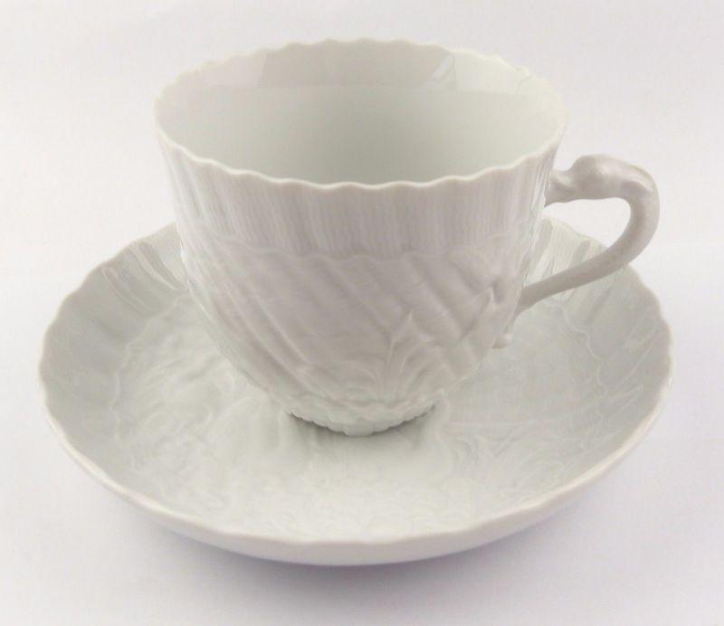 #e7106 Meissen 1. Wahl Porzellan Kaffeepott & Untertasse Schwanenservice weiß
