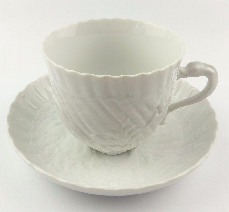 #e7105 Meissen 1. Wahl Porzellan Kaffeepott & Untertasse Schwanenservice weiß