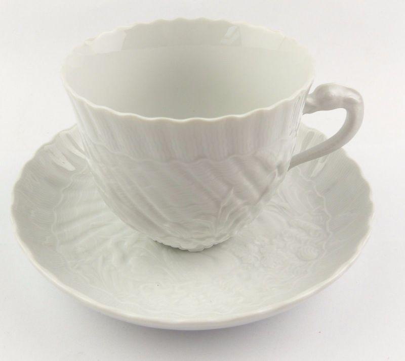 #e7104 Meissen 1. Wahl Porzellan Kaffeepott & Untertasse Schwanenservice weiß