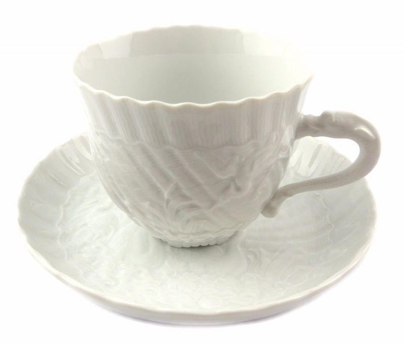 #e7098 Meissen 1. Wahl Porzellan Kaffeepott & Untertasse Schwanenservice weiß