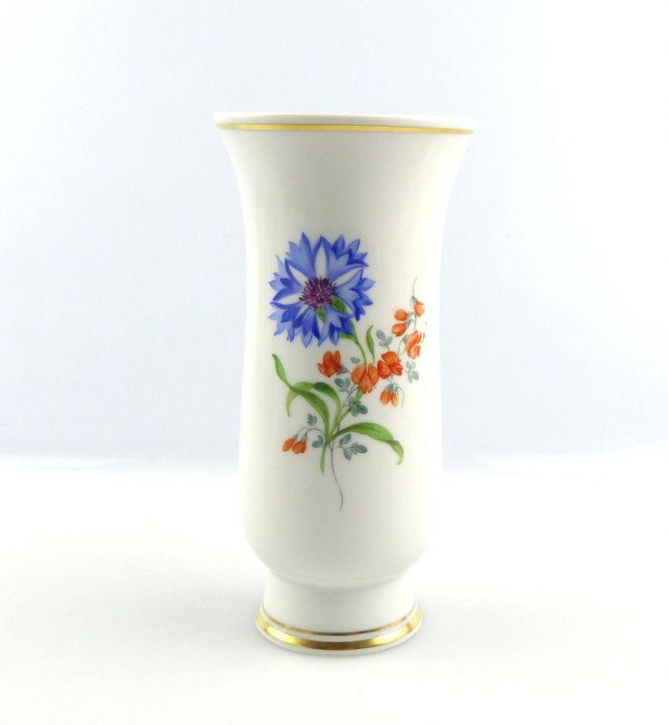 #e4314 Meissen Blumenvase / Vase mit bunten Blumen und Goldrand 1. Wahl